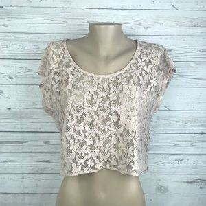 Forever 21 Butterfly Lace Crop Top Blouse